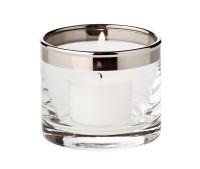 Windlicht Molly, mundgeblasenes Kristallglas mit Platinrand, Höhe 6 cm, Durchmesser 7 cm
