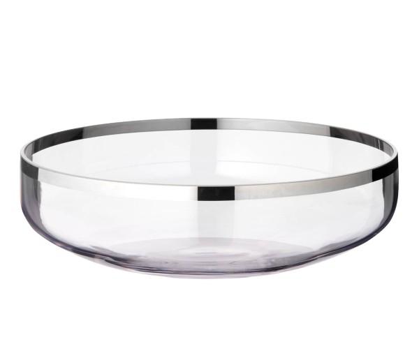 SALE Schale Dekoschale Mason, mundgeblasenes Kristallglas mit Platinrand, Durchmesser 35 cm