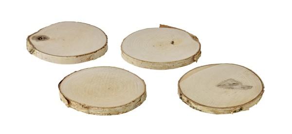 SALE 4er Set Deko Holz Baumscheibe, hell, ø 70 - 100 mm, Stärke ca. 10 mm