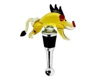 SALE Flaschenverschluss Eber für Champagner, Wein und Sekt, Höhe 10 cm, Muranoglas-Art, Handarbeit