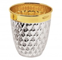 Becher Herz, Echtsilber 925/000, innenvergoldet, H 9, Füllmenge 0,2 Liter, Silbergewicht 108 g