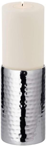 Kerzenleuchter Agadir, Edelstahl hochglanzpoliert, H 15 cm, ø 8,5 cm Plus Dauerkerze Cornelius