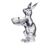 Hase mit Schale Bert, Hasenfigur mit Schüssel, Höhe 31 cm, Aluminium vernickelt silberfarben