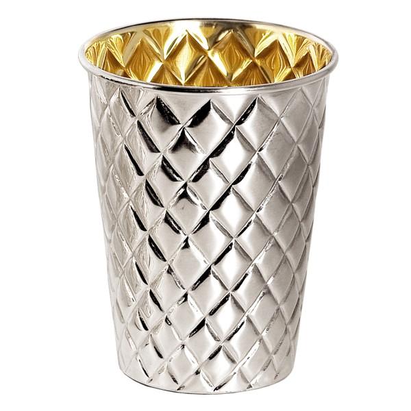 Silberbecher Pilar mit Rautenmuster, schwerversilbert, innen Goldoptik (Messing poliert), Höhe 11 cm