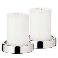 EDZARD 2er Set Kerzenständer Sanremo, edel versilbert, anlaufgeschützt, ø 10 cm, für Stumpenkerzen