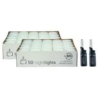 100 Stück Wenzel Nightlights durchsichtige Teelichtkerzen, weiß, Plus 2 Mini-Stabfeuerzeuge