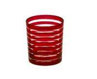 SALE Kristallglas / Teelichthalter Nelson, rot, handgeschliffenes Glas , Höhe 9 cm, Füllmenge 0,25 L