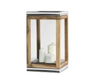 Laterne Dubai, Teakholz und Edelstahl glänzend vernickelt, Höhe 44 cm, Gewicht 4,7 kg