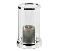 Windlicht Sanremo, edel versilbert, anlaufgeschützt, Höhe 20 cm, Durchmesser 12,5 cm