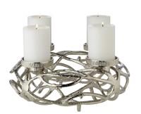Adventskranz Bernd, Durchmesser 29 cm, Aluminium vernickelt silberfarben, für Kerzen ø 6 cm