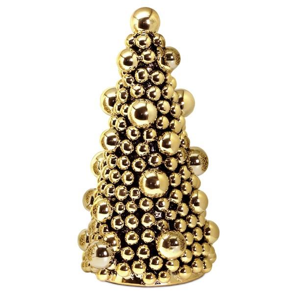 Deko-Tannenbaum, Keramik goldfarben, Höhe 32 cm
