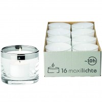 Windlicht Molly, mundgeblasenes Kristallglas mit Platinrand, H 6 cm, Ø 7 cm, Plus 16 Maxi-Teelichter