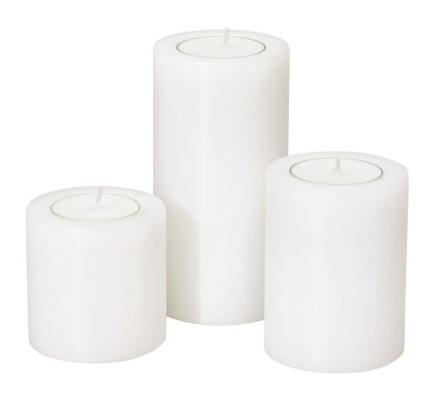3er Set Teelichthalter Dauerkerze Stumpenkerze Cornelius ø 6 cm, Höhen 6 cm, 8 cm und 10 cm