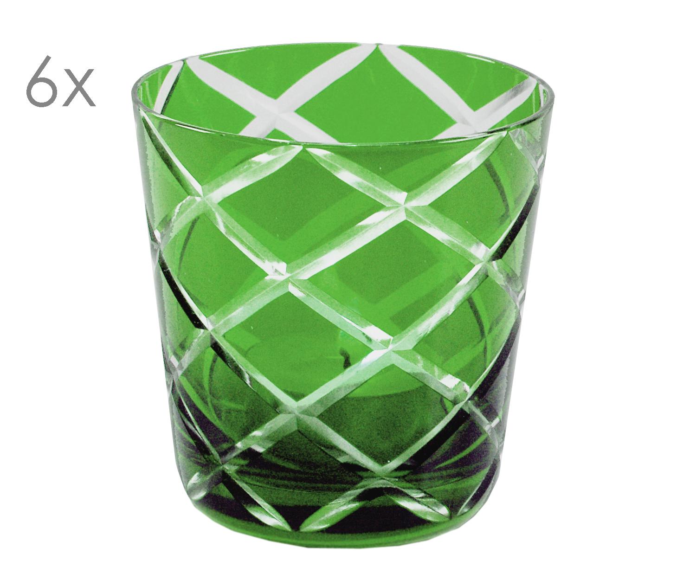 Höhe 8 cm 6er Set Kristallgläser Dio Füllmenge 0 handgeschliffenes Glas rot