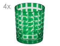 SALE 4er Set Kristallgläser Marco, grün, handgeschliffenes Glas , Höhe 9 cm, Füllmenge 0,25 Liter