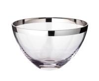 Schale Dekoschale Holly, mundgeblasenes Kristallglas mit Platinrand, Durchmesser 20 cm