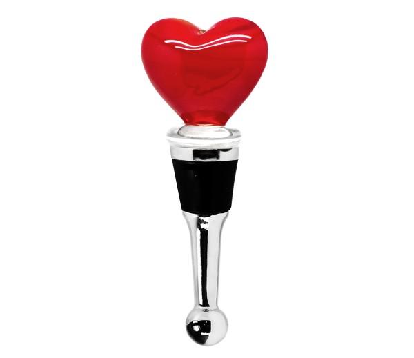 Flaschenverschluss Herz für Champagner, Wein und Sekt, Höhe 10 cm, Muranoglas-Art, Handarbeit