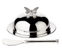 EDZARD Butterglocke Butterfly, mit Glasschale und Deckel, edel versilbert, ø 14 cm,mit Buttermesser