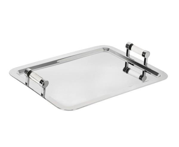 SALE Tablett Norbert, rechteckig, Edelstahl hochglanzpoliert, 60 x 45 cm, Höhe 7 cm
