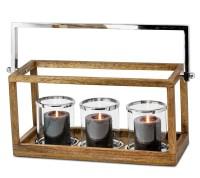 Laterne Granby, klappbarer Griff, Holz, Edelstahl glänzend vernickelt, 3 Gläser, 41x18 cm, H 21 cm