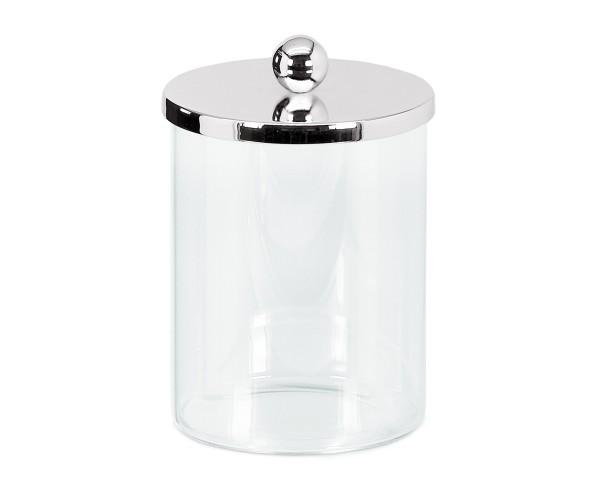 SALE Dose Glasdose Corby, Deckel edel versilbert, anlaufgeschützt, Höhe 16 cm, ø 10 cm