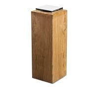Sockel für Laterne Dubai, Teakholz und Edelstahl glänzend vernickelt, Höhe 61 cm, Gewicht 7,4 kg