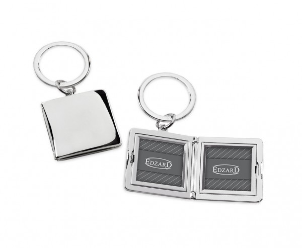 Schlüsselanhänger Quadro für 2 Fotos 3 x 3 cm, zum Aufklappen, edel versilbert, anlaufgeschützt