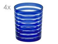 SALE 4er Set Kristallgläser Nelson, blau, handgeschliffenes Glas , Höhe 9 cm, Füllmenge 0,25 Liter