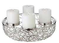 Adventskranz Milano, Edelstahl vernickelt silberfarben, Durchmesser 34 cm, für Kerzen ø 8 cm