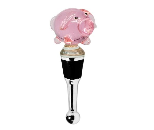 Flaschenverschluss Schwein für Champagner, Wein und Sekt, Höhe 10 cm, Muranoglas-Art, Handarbeit