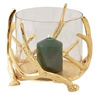 Windlicht Kingston, Geweih-Design, Aluminium vernickelt, goldfarben, mit Glas, Höhe 20 cm, ø 25 cm