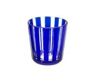 Kristallglas / Teelichthalter Ela, blau, handgeschliffenes Glas , Höhe 8 cm, Füllmenge 0,14 Liter