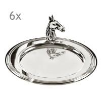 SALE 6er Set Untersetzer Flaschenuntersetzer Pferd, edel versilbert, Durchmesser 11 cm