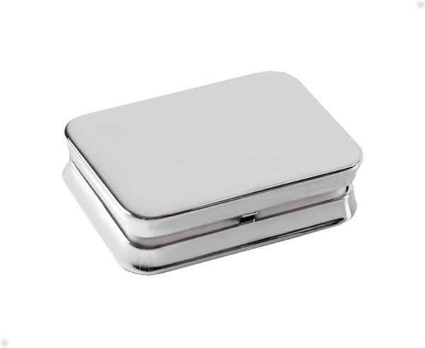 SALE Pillendose Pillenbox Plano, 2 Fächer, edel versilbert, 4 x 6 cm