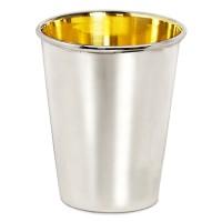 Trinkbecher Silberbecher Salta, schwerversilbert, innen Goldoptik (Messing poliert), Höhe 12 cm