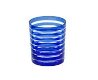 SALE Kristallglas / Teelichthalter Nelson, blau, handgeschliffenes Glas , Höhe 9 cm, Füllmenge 0,25