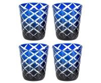 4er Set Kristallgläser Dio, blau, handgeschliffenes Glas , Höhe 10 cm, Füllmenge 0,23 Liter