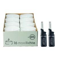 16 Stück Wenzel Maxilights transparente Maxi-Teelichter, ø 56 mm, Plus 2 Mini-Stabfeuerzeuge