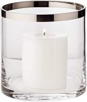 Windlicht Molly, Kristallglas mit Platinrand, H 15 cm, ø 15 cm Plus Dauerkerze Cornelius Höhe 9 cm