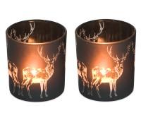 2er Set Teelichthalter Windlicht Hirsch, schwarzes Glas, Höhe 8 cm