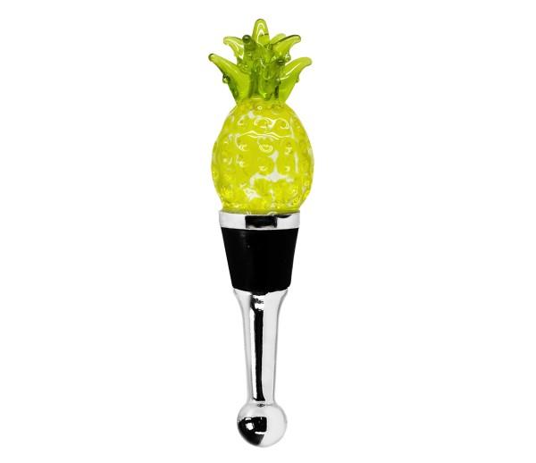 Flaschenverschluss Ananas für Champagner, Wein und Sekt, Höhe 11 cm, Muranoglas-Art, Handarbeit