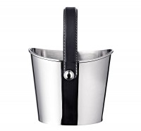 Eiseimer Gilbert Weinkühler mit schwarzem Ledergriff, Edelstahl glänzend vernickelt, Höhe 17 cm