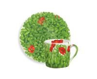 Taitu PRATI ITALIANI Espressotasse mit Untertasse 0,1 Liter (rote Blüten)