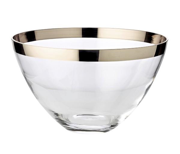 Schale Dekoschale Holly, mundgeblasenes Kristallglas mit Platinrand, Durchmesser 30 cm