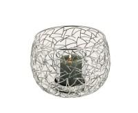 Windlicht Milano, Edelstahl glänzend vernickelt, mit Glas, Durchmesser 27 cm, Höhe 19 cm