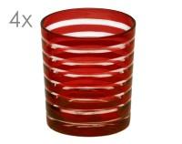 SALE 4er Set Kristallgläser Nelson, rot, handgeschliffenes Glas , Höhe 9 cm, Füllmenge 0,25 Liter