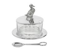 Marmeladenglas Ente mit Untersetzer und Löffel, edel versilbert, anlaufgeschützt, H 12 cm, ø 9 cm