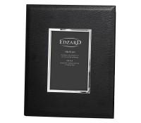 Fotorahmen Geno für Foto 10 x 15 cm, Lederoptik schwarz, edel versilbert, anlaufges., 2 Aufhänger