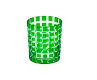 SALE Kristallglas / Teelichthalter Marco, grün, handgeschliffenes Glas , Höhe 9 cm, Füllmenge 0,25 L