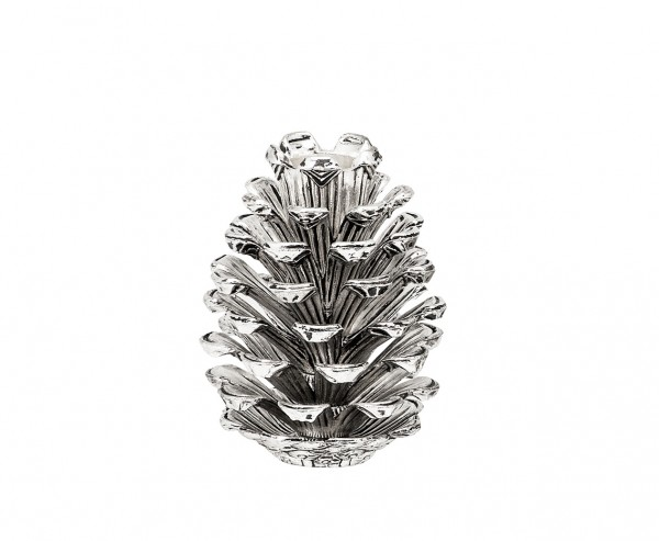 Kerzenleuchter Zapfen für Stabkerze, Aluminium vernickelt, Höhe 9 cm